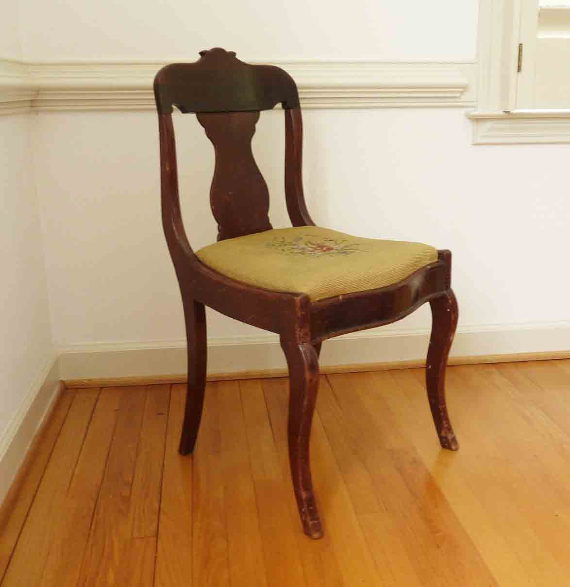 vintage antique wood chair embroidered seat home decor