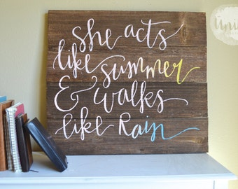 Train Lyrics Drops of Jupiter OmbreHand-Painted Pallet Sign