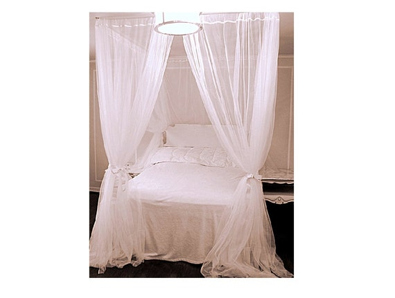 King Size Bed Canopy With Chiffon Curtains Four Poster Bed
