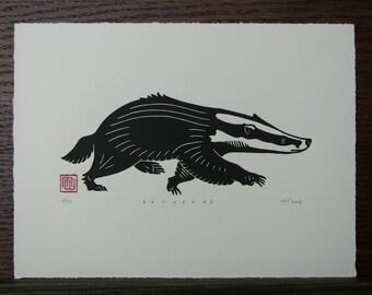 Badger Linocut Print // Handmade // Original // Limited Edition