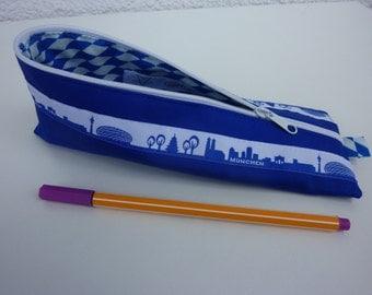 """Zipper Pencil Pouch pencil case """"München"""" in blue and white"""