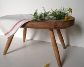 Primitive vintage rustic wooden milk stool or small bench by MilkweedVintageHome