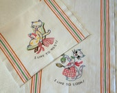Super Cute! Vintage Dish Towels Flour Sack Embroidered Cats 1950'S-Linens - Textiles - Cottage - Farmhouse - Bed and Breakfast