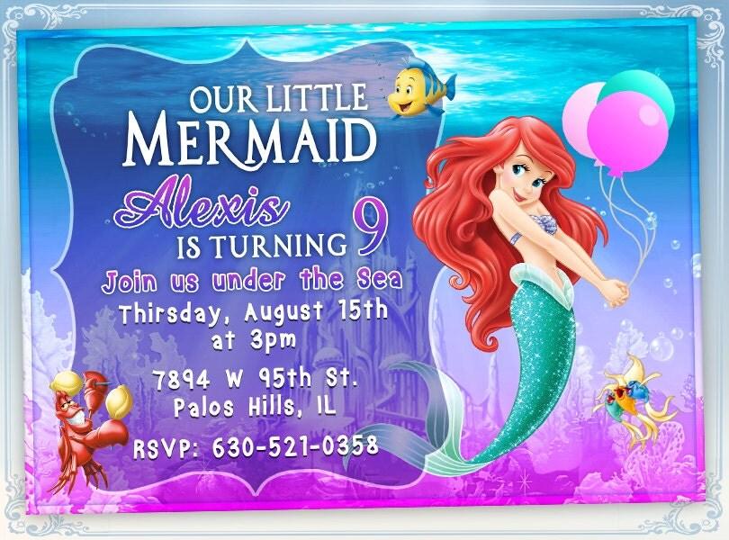 little mermaid birthday invitations – gangcraft, Birthday invitations