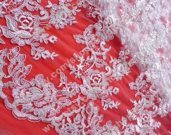 White 47'' width Venetian lace French lace wedding dress lace fabric by the yard