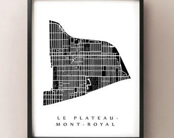 Le Plateau-Mont-Royal Map - Montreal Neighbourhood Art Print
