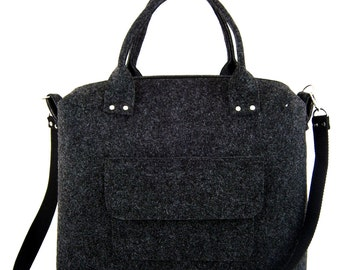 Handbag Felt purse Bag for women Anthracite bag Gray bag Felt bag Designer handbag Felt shoulder bag Modern