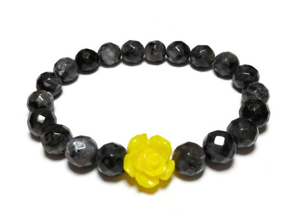 Black Moonstone bracelet Larvikite bracelet yellow rose