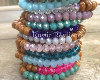 Glass wooden bracelets