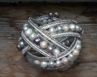 Pearl cuff // Freshwater pearl bracelet // silver pearl bracelet // statement cuff // pearl jewelry