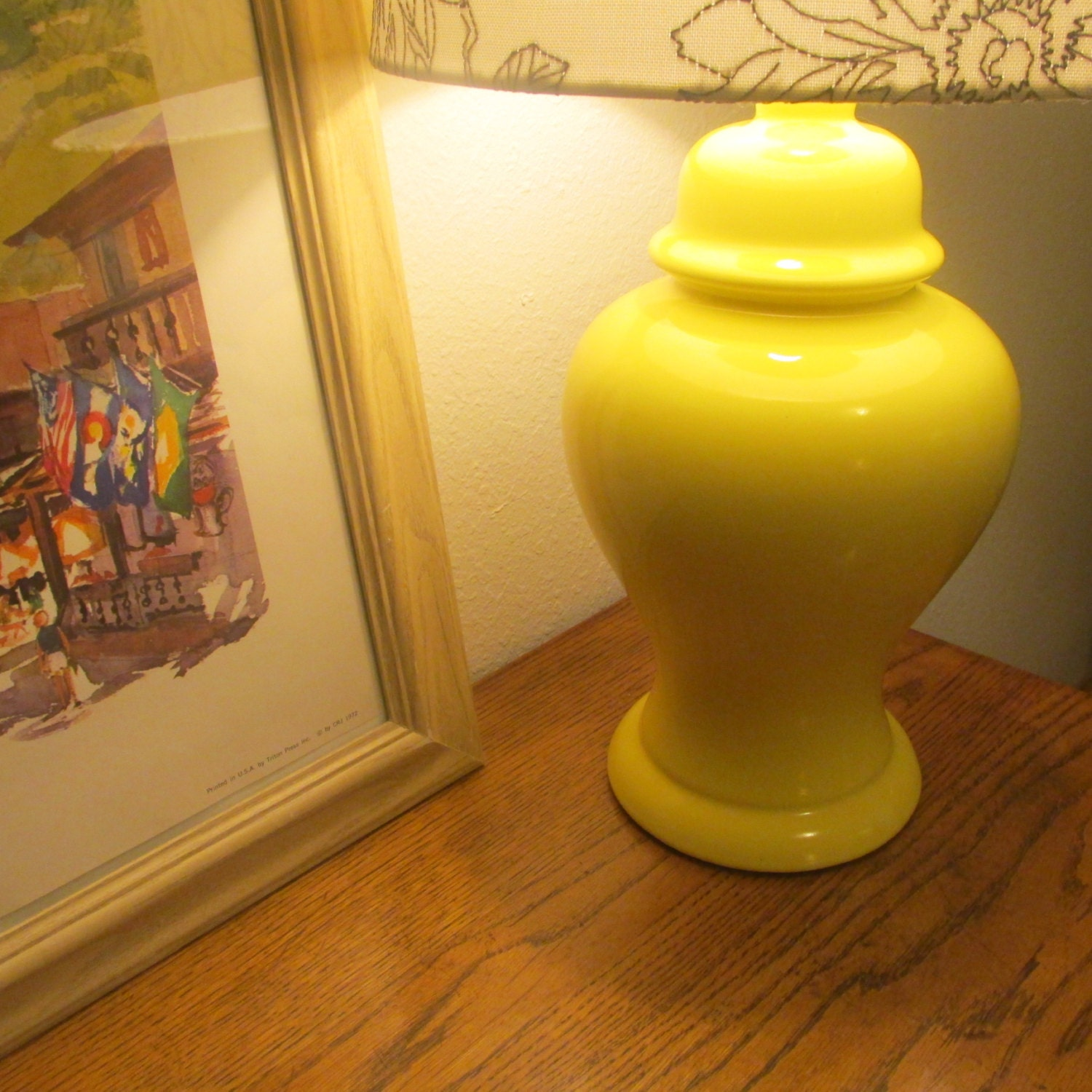 70s Ginger Jar Lamp Without Lamp Shade