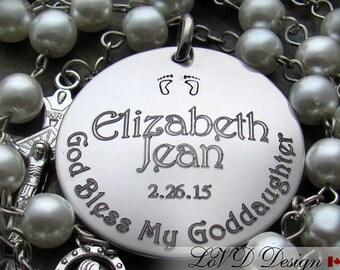 Baptism.Baptism Gift. Custom. Personalized. Godparents Baptism Gifts. Custom Rosary. Engraved. Catholic. Baptism Boy. Christening. G1