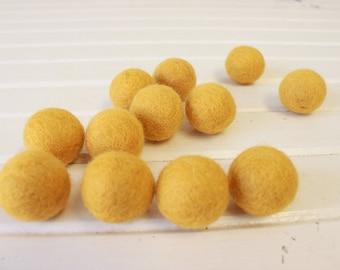 Mustard Felt Balls 12 count