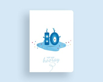 Birthday Card • 10 Little Aliens by Celebratink • Aliens • Greeting Card • Blue