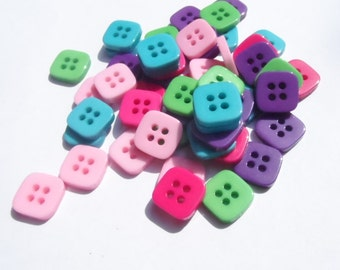 25 Buttons Square in mixed colors 11mm 4 Holes