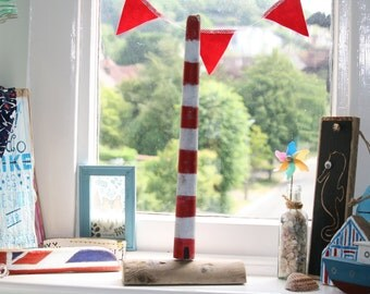 Driftwood Art - Freestanding Red and White Lighthouse