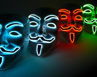 Light Up Vendetta Masks El Wire in White, Yellow, Orange, Blue - Halloween Special