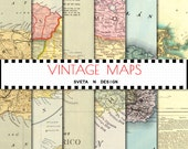 Vintage maps digital paper - antique maps of puerto rico for invitations, cardmaking, scrapbooking - set #5