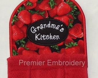 Strawberry with Grandma, Mom, or Nana Kitchen Towel Topper