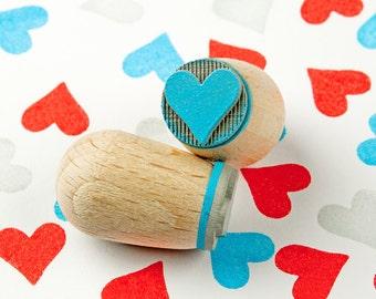 Heart cyan - mini stamp Ø 1,4 cm