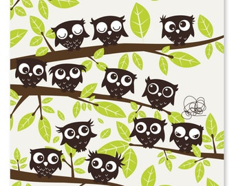 Postcard with owls on branches - recycled paper