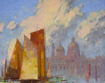 Venice Sail Boats  Harbor Oil painting on Canvas One of a kind Impressionism Handmade Painting Signed