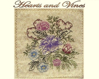 Hearts and Vines - Stephanie - Hand Embroidery Pattern by Beth Ritter - Instant Digital Download