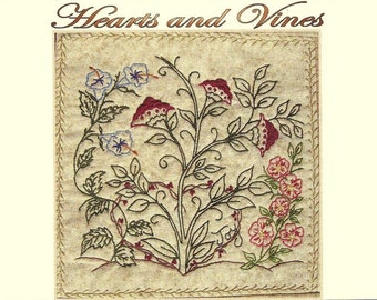 Hearts and Vines - Ryan - Hand Embroidery Pattern by Beth Ritter - Instant Digital Download