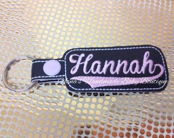 Hannah - In The Hoop - Snap/Rivet Key Fob - DIGITAL EMBROIDERY DESIGN