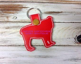BULLDOG Outline - DOG - In The Hoop - Snap/Rivet Key Fob - DIGITAL Embroidery Design