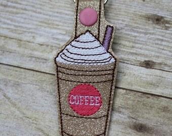 Coffee - Frap - Java - Key Fob - In The Hoop - Snap/Rivet Key Fob - DIGITAL Embroidery Design