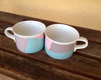 Grometric Mug, Green pink Mug,  Daniel Hechter Paris Jai Alai Mugs cups Set of 2 cups