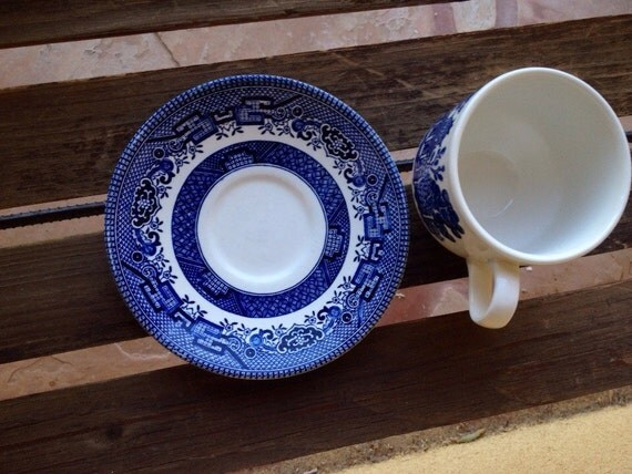 Churchill England Blue Willow Pattern Cup And Saucer Set In
