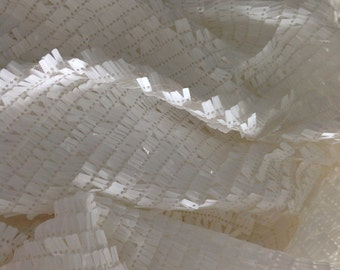 18 Colors 1 yard White Sequin Fabric,Sparkly Rectangular Sequins on Mesh for Dress Costumes