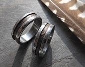 unique wedding ring set his and hers, mixed metal wedding bands bronze, promise rings two tone, matching wedding rings bronze silver antique