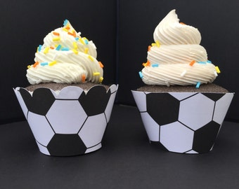 Soccer Ball Cupcake Wrappers -Sets of 12