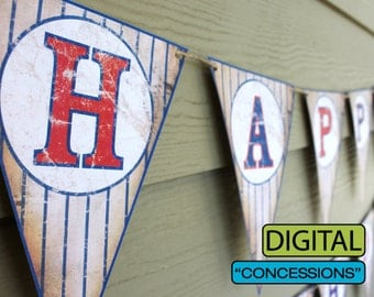 "Vintage Baseball Party ""CONCESSIONS"" Banner Sign"