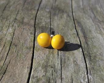 Dark Yellow Fused Glass Surgical Steel Stud Earrings