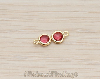 FST127-01-G-RU // Glossy Gold Plated Round Framed Ruby Glass Stone Pendant, 2 Pc