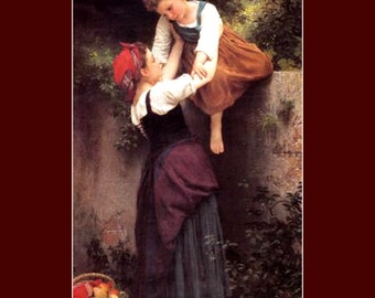 "11 x 14"" canvas art print.  Marauding Sisters By William Adolphe Bouguereau.  Stealing fruit."