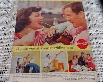 Original 1956  Coke/ Coca Cola ad. Says: Bring home the Coke today.. .
