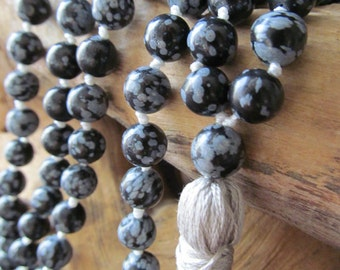 Mala Beads – Snowflake Obsidian  – 108 Mala Beads – Mala Necklace – Prayer Beads – Yoga Jewelry  - Japa Mala - Meditation - Buddhist-Beaded