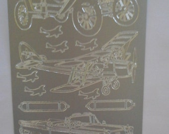 Starform silver cars, plane, motorcycle stickers 1009ss
