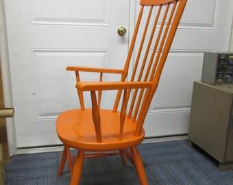 Vintage Mid Century Modern painted High Back Orange Windsor Arm Chair