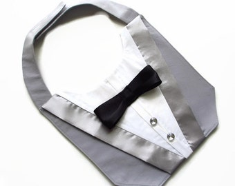 Dog Wedding Tuxedo in Gray with Bow Tie Choices