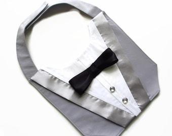 Dog Tuxedo Wedding Bandana Vest Grey Deluxe