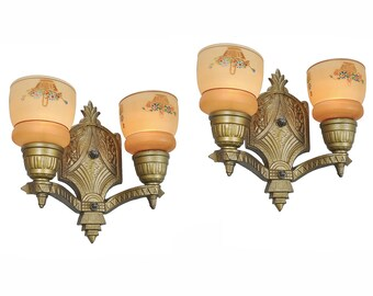 Pair of Antique Wall Sconces 2 Arm Light Circa 1920 - 1935 Gold Color (ANT-436)