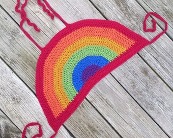 Crocheted Rainbow Halter Top