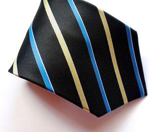 THAI SILK Tie,Unused Vintage Hand Made Necktie, Diagonal Stripe,SAWASDEE Tie,New Old Stock,Made in Thailand,Black & Blue Tie,Reg Stripe Club