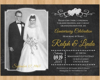 50th Anniversary Invitation, Printable 50th Wedding Anniversary Invitation, Chalkboard 50th Anniversary Party, Golden Anniversary Invites